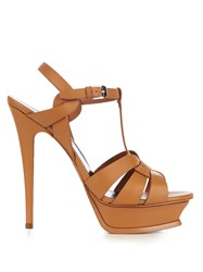 Saint Laurent Tribute Leather Sandals Tan