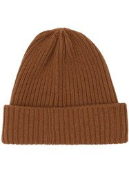 Burberry Rib Knit Wool Beanie Brown