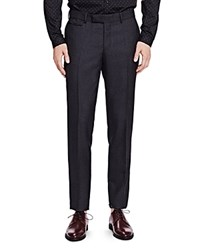 The Kooples Pique Shiny Wool Slim Fit Trousers Gray