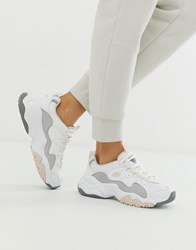 Skechers D'lite Chunky Trainers 3.0 In White Grey