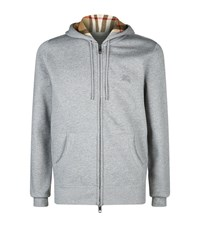 Burberry Check Lined Hoodie Male Light Grey