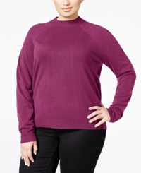 Karen Scott Plus Size Cashmelon Luxsoft Mockneck Sweater Only At Macy's Raspberry