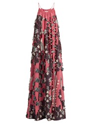 Chloe Floral Fil Coupe Silk Crepe De Chine Dress Pink Multi