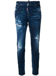 Dsquared2 Distressed Cool Girl Jeans Women Cotton Calf Leather Polyester Brass 38 Blue