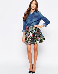 Mela Loves London A Line Skirt In Floral Scuba Black