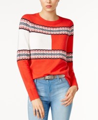 Tommy Hilfiger Flag Graphic Sweater Only At Macy's Poinsettia