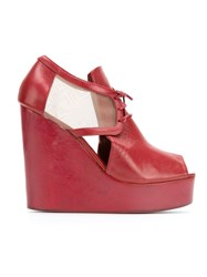 Isabela Capeto Leather Wedge Sandals Red