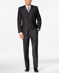 Andrew Marc New York Andrew Marc Charcoal Plaid Slim Fit Vested Suit