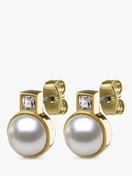 Dyrberg Kern Zyris Faux Pearl Stud Earrings Gold White