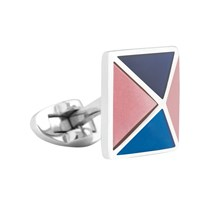 Thomas Pink Four Panel Pyramid Cufflinks Pink Blue