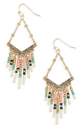 Cara Women's Beaded Drop Earrings Gold Multi