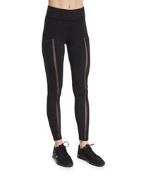 Michi Borderline Netted Mesh Paneled Athletic Leggings Black