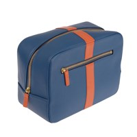 Stow Luxury Soft Leather Men's Wash Bag In Topaz Blue