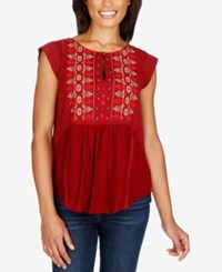 Lucky Brand Embroidered Cap Sleeve Top Biking Red