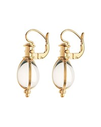 Temple St. Clair 18K Yellow Gold Oval Crystal Amulet Earrings Clear Gold