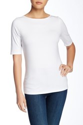 Catherine Malandrino Elbow Sleeve Boatneck Tee White