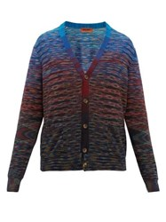 Missoni Striped Space Dyed Wool Blend Cardigan Blue Multi