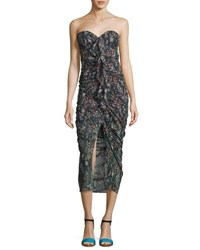 Veronica Beard Peyton Strapless Ruched Silk Cocktail Dress Multi