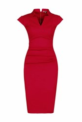 Jolie Moi High Collar V Neck Ruched Dress Red