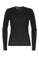 Anthony Vaccarello Cotton Linen Silk Ribbed Pullover Black