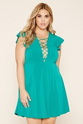 Forever 21 Plus Size Lace Up Skater Dress