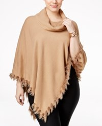 Alfani Plus Size Faux Fur Trim Cowl Neck Poncho Only At Macy's Modern Camel