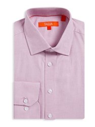 Tallia Orange Textured Mason Fit Cotton Dress Shirt Chambray