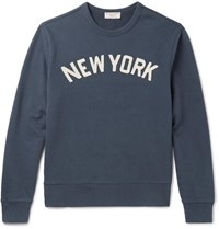 J.Crew Embroidered Loopback Cotton Jersey Sweatshirt Navy