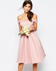 Chi Chi London Midi Prom Dress With Full Skirt And Bardot Neck Pink