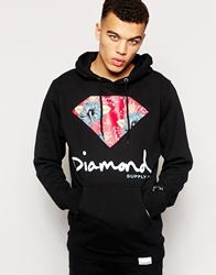 Diamond Supply Co. Diamond Supply Hoodie With Floral Diamond Black