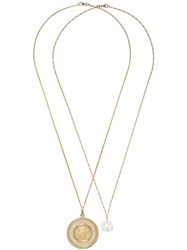 Wouters And Hendrix Gold 18Kt Gold Pearl Coin Pendant Necklace Yellow Gold