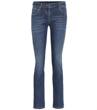 Brunello Cucinelli Embellished Low Rise Skinny Jeans Blue