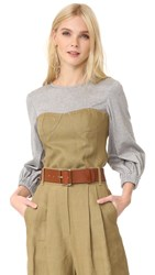 Tibi Peplum Corset Top Burlap Grey Multi