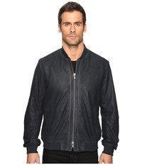 John Varvatos Zip Front Leather Bomber With Rib Trim At Collar Cuffs And Waist L1000s4b Eclipse Men's Coat Olive