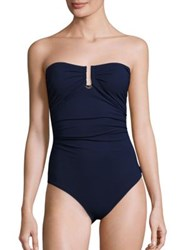 Shan Blue Valentine One Piece Bandeau Swimsuit Navy