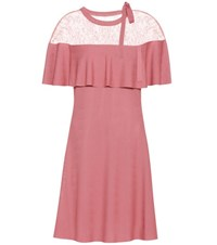 Valentino Lace Trimmed Crepe Dress Pink