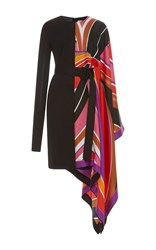 Emilio Pucci Asymmetrical Batwing Sleeve Dress Print