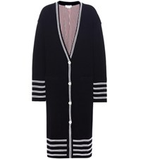 Thom Browne Knitted Wool Coat Blue