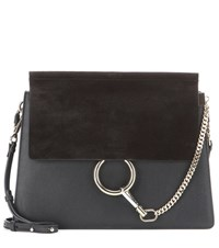 Chloe Faye Leather And Suede Shoulder Bag Black