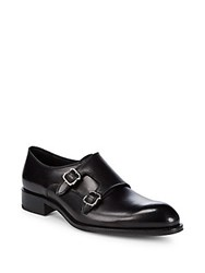 Brioni Double Monk Strap Leather Dress Shoes Black