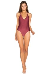 Vix Swimwear Solid Piercing One Piece Burgundy