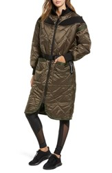 Ivy Park Bardot Quilted Coat Crocodile