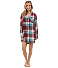Life Is Good Sleep Button Up Shirt Red Teal Plaid Women's Long Sleeve Button Up Multi