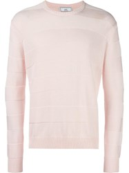 Ami Alexandre Mattiussi Tonal Stripe Crew Neck Sweater Pink Purple