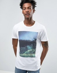 Selected Homme Indigo T Shirt With Print Landscape Print White