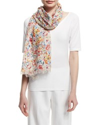 Lafayette 148 New York Bouquet Linen Blend Scarf