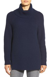 Women's Nordstrom Collection Wool And Cashmere Turtleneck Sweater Navy Medieval