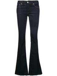 Red Valentino Flared Jeans With Side Band Cotton Spandex Elastane Polyester Blue