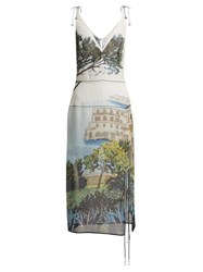 Altuzarra Ponza Silk Chiffon Midi Dress Blue Multi