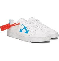 Off White Distressed Leather Trimmed Canvas Sneakers White